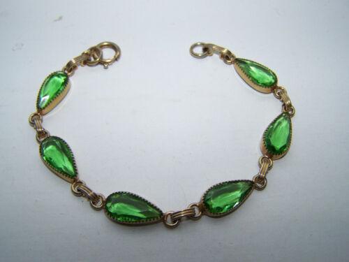 VIntae Delicate Green Crystal Glass Linked Bracelet - Lovely! - D21