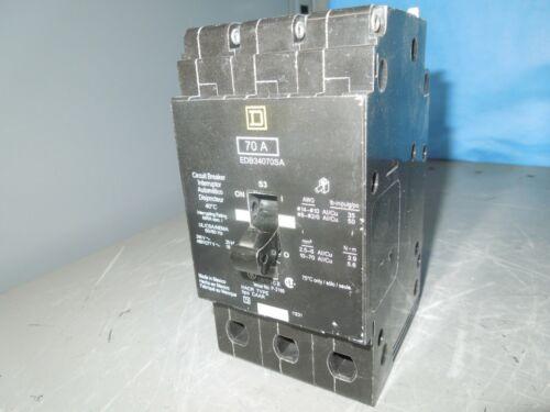 Square D Edb34070 70a 3p 480v 50/60hz Circuit Breaker Used