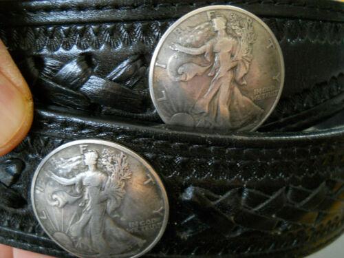 USA Southwestern 7 Half Dollar Domed Coins Black Leather Belt Size 46