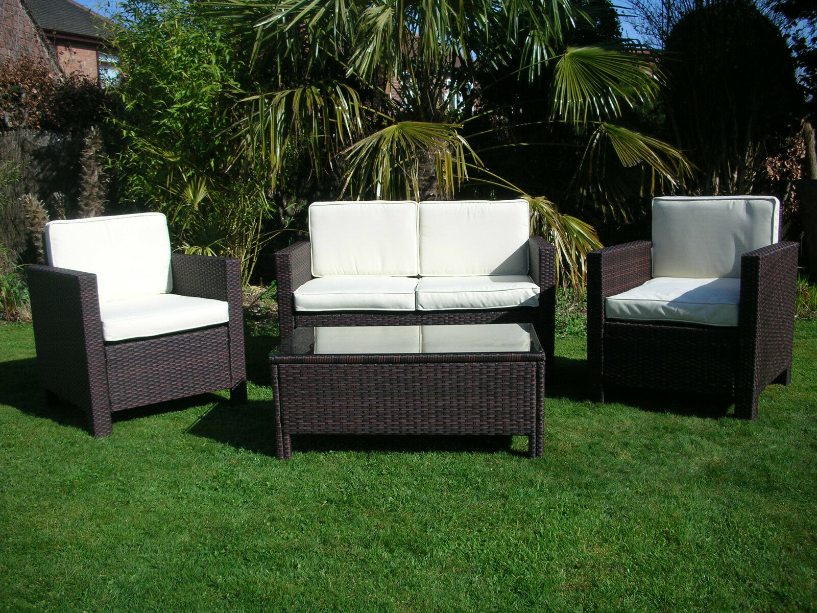 New garden rattan wicker outdoor conservatory furniture set table chairs brown ebay - Garden furniture table and chairs ...