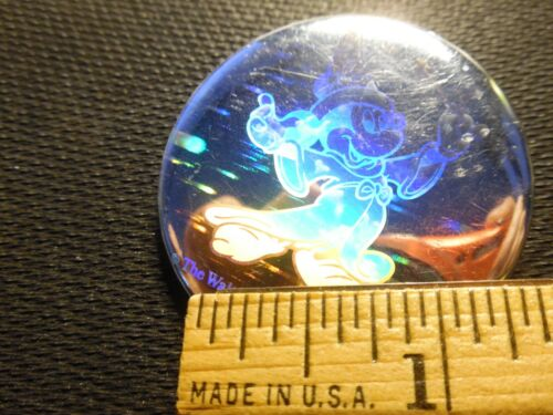 Vntg HOLOGRAPHIC Disney Mickey Mouse Fantasia Pin- back Button Very Cool Rare