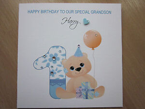 Personalised Handmade Boys 1st First Birthday Card - Son, Brother, Grandson