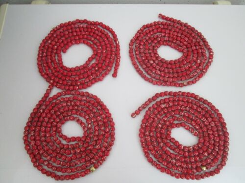 "Vintage Red/White Speckled Wooden Bead Garland, approx 97"" per strand"