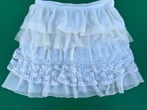 Girls Elastic Waist Ivory Tiered Skirt  -  Sz M (10-12)