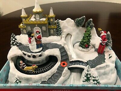 NEW LED Christmas Snow Village w/ Music, Spinning Snowman, Train Track & Tree
