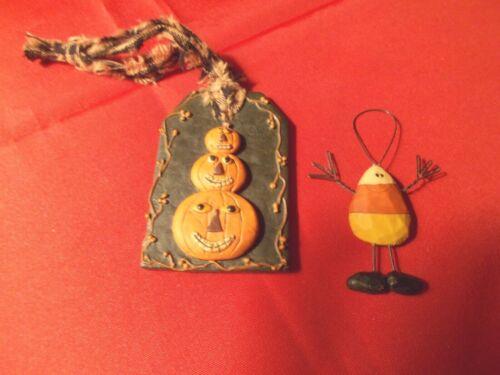 "Set of 2, Halloween Decorative Ornaments -""Pumpkins"" & Candy Corn Figure"""