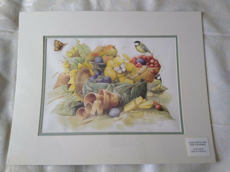 Marjolein Bastin Double-Matted Print NIP Bird Butterfly Sunflower and Fruit