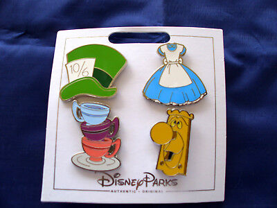 * ALICE in WONDERLAND * Disney Parks 4 Pin Themed Set on Card Trading Pins](Wonderland Themes)