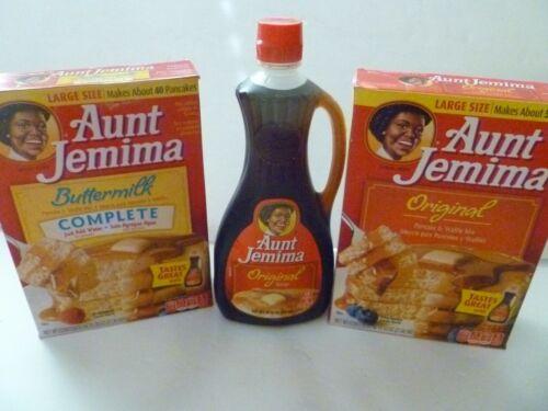 Aunt J Jem Syrup Original Flavor Bottle+ Pancake Mix discontinued advertising