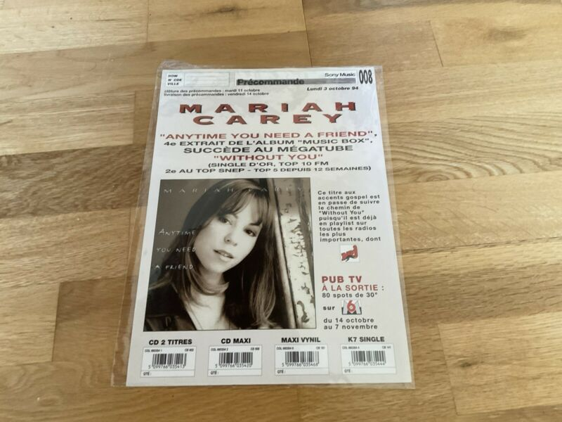 Mariah Carey - Anytime You Need A Friend - 1994 Superb Promo Advert. Very Rare.
