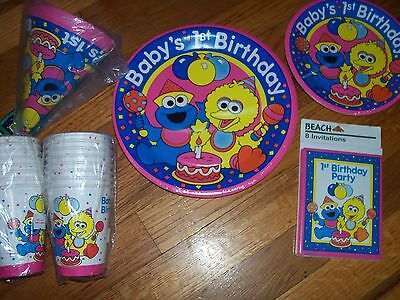 Sesame Street Baby's First Birthday Party Supplies Multi-color 6pc Lot Beach NOS](Baby Sesame Street Birthday Party Supplies)