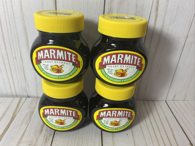 Lot of 4- Marmite Yeast Extract, 4.4 oz Best By 8-21
