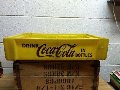 Vintage Plastic Coca Cola Crate, 4 Slots for Six Packs, Yellow/Brown