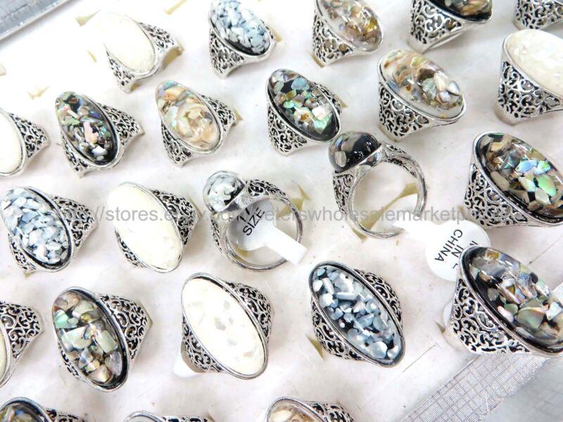 15pcs  chunky seashell ring fashion jewelry cheap bulk lot