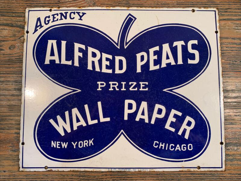 Antique Vintage Rare Alfred Peats Porcelain Sign Burdick Sign Co.