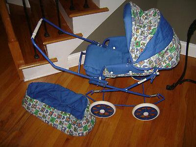 Vintage English Style Pram Baby Doll Carriage Stroller & Carrier Blue White RARE Doll Pram Carrier Stroller