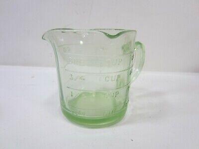 Vintage Vaseline Glass 8 oz. 3 Spout Measuring Cup