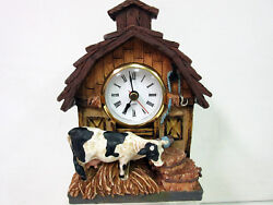 New Country Meadows Barn Cow Table Figural Clock Cows Retired NIB 1999 Edition
