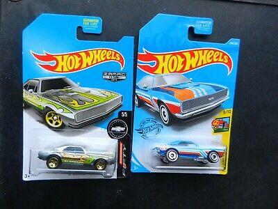 HOT WHEELS #248 BLUE 1967 CHEVROLET CAMARO T-HUNT & 2017 ZAMAC 1967 CHEVY CAMARO