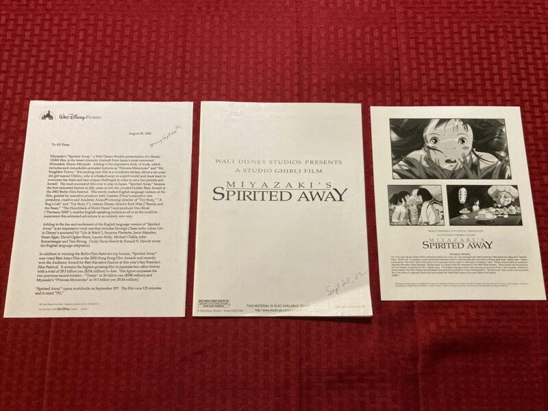 Miyazaki's Spirited Away Production Notes With Press Photo 2002
