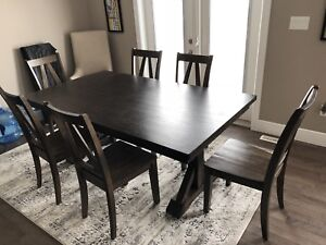 Rustic wood dining set, 6 chairs + leaf