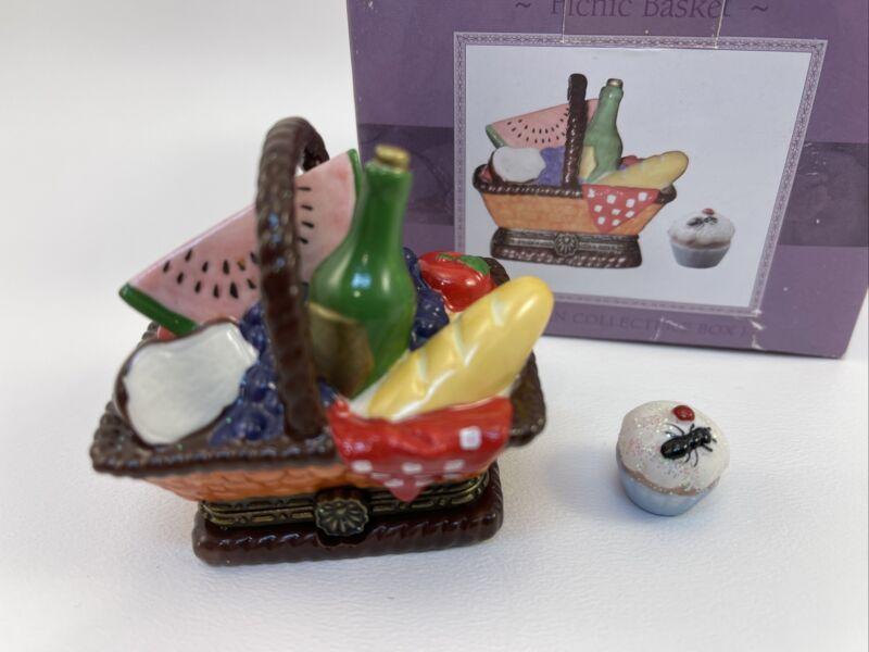 Picnic Basket w/ cupcake  Porcelain Hinged Trinket Box Cooking Club of America