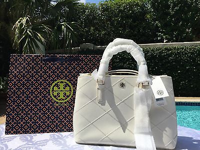 TORY BURCH ROBINSON STITCHED MINI DOUBLE ZIP NEW IVORY NWT $525 & GIFT BAG