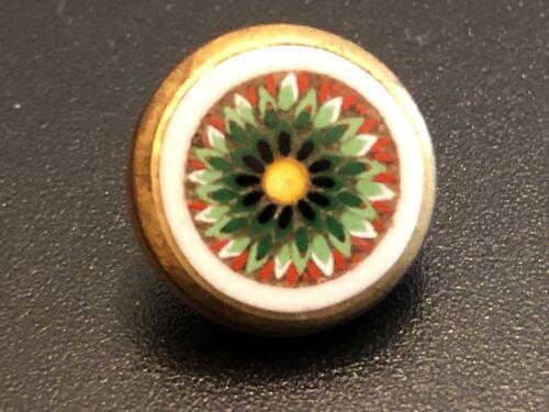Precious Flowered  Micro Mosaic Antique Waistcoat Button, yellow green white bkg