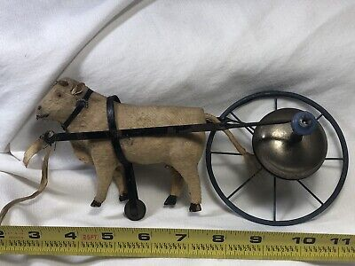 Early 1800's Antique Cow Pull Toy Cast Iron Wheels- All Original