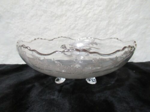 Cambridge Caprice Glass Footed Bowl with Metallic Flowers
