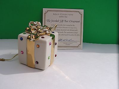 LENOX 2003 annual JEWELED Ornament THE JEWELED GIFT BOX New in Box w/COA w/Gold