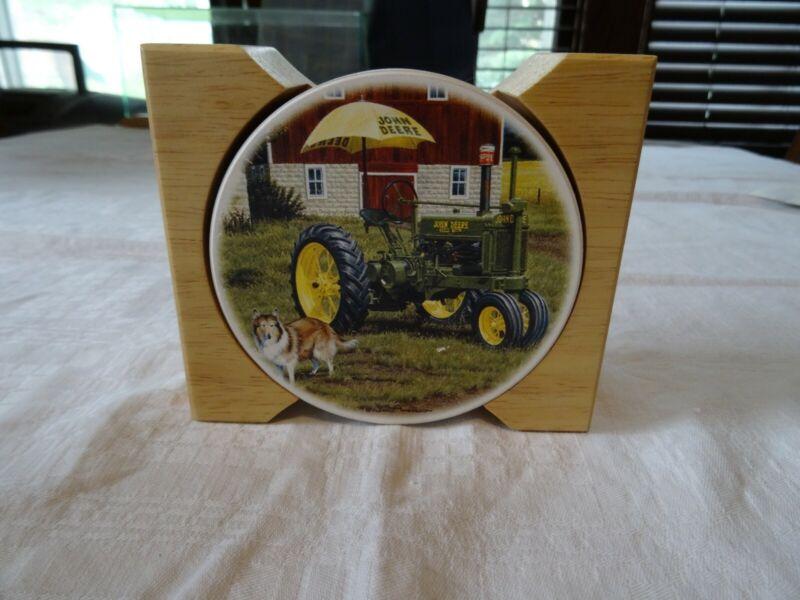 John Deere Stoneware & Cork Beverage Coasters Set of 4 w/Wooden Holder