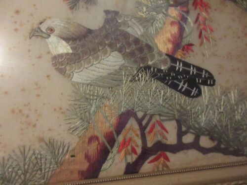 Oriental Antique Hand Embroidery SUN Falcon Hawk & Birds Trees Silk