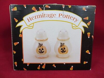Hermitage Pottery Halloween/Fall Salt and Pepper Shaker Limited Edition in Box