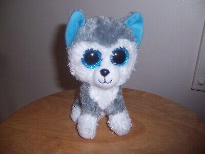 Ty Big  Eyes SLUSH HUSKY Baby Blue Beanie Babies Plush Animal Dog