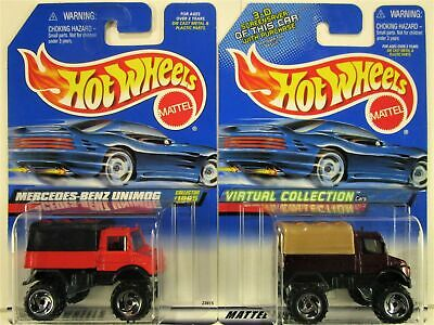 HOT WHEELS MERCEDES BENZ UNIMOG 2 CAR SET 1999 AND 2000 NEW IN PACKAGES
