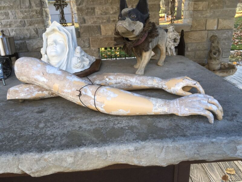 VINTAGE PAIR FRENCH JEANNE D ARC LIVING STYLE  MANNEQUIN ARMS GREAT PATINA/WEAR