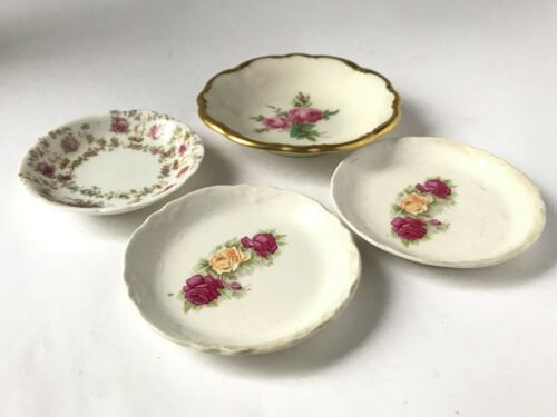 Lot of 4 Peony Rose Floral Butter Pats Trays Lindner Kueps
