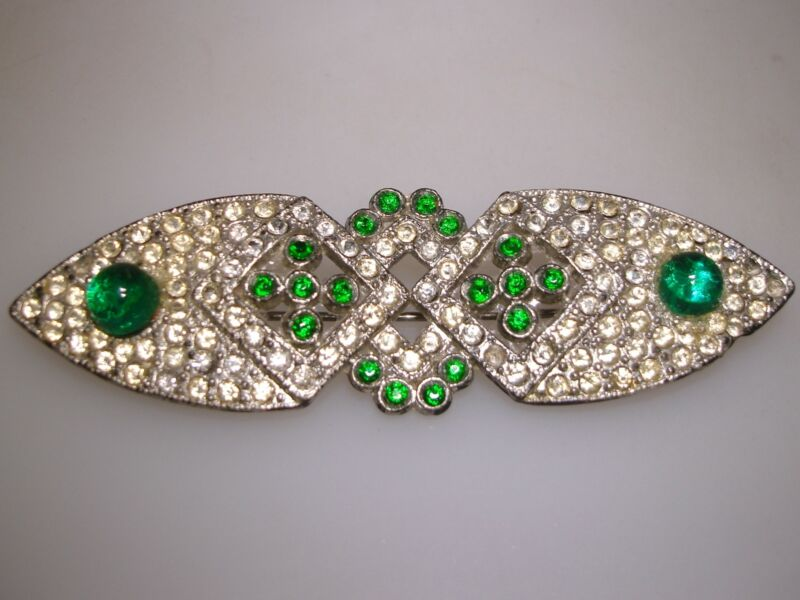 LOVELY ANTIQUE ART DECO POT METAL GREEN & CLEAR PASTE STONES PIN/BROOCH!
