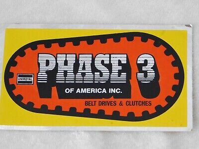 """VTG 1980's UNIROYAL PHASE 3 DRIVES & CLUTCHES ADVERTISING FOIL STICKER DECAL 5"""""""