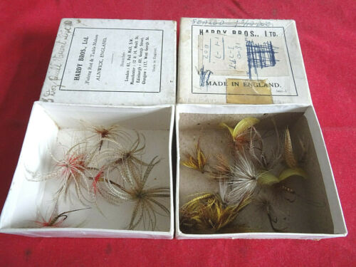 2 VINTAGE HARDY CARD RETAIL BOXES WITH A COLLECTION OF MAYFLIES
