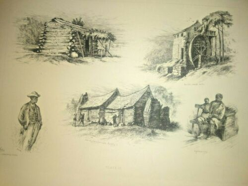 """Edwin Forbes Original 1876 Copper Plate Etching """"A Slave Cabin, A Picaninny"""""""