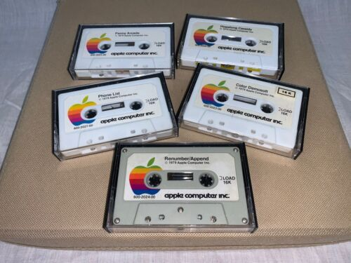 APPLE EDUCATIONAL COMPUTER GAMES ON CASSETTE TAPE SET OF 5 - 1979 – PREOWNED