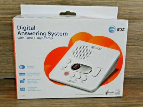 AT&T 1740 Digital Answering Machine System 60 Minutes Recording Time/Date Stamp