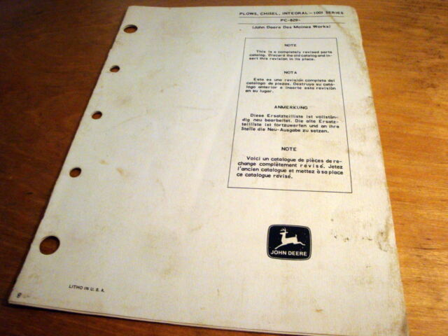 John Deere 100i Integral Chisel Plow Parts Book Li
