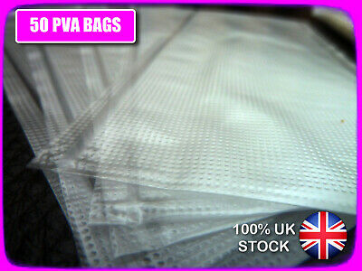 50 x PVA BAGS 60 x 100mm STRONG + TOTAL DISSOLVE + FOR CARP BOILIES, PELLETS