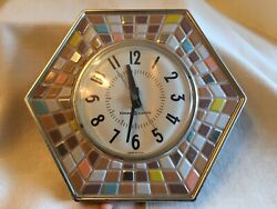 General Electric GE Kitchen Wall Clock Mosaic Tile Hexagon Retro Mid Century