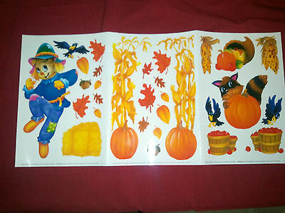 Magic Cling Window Decorations Scarecrow leaves Thanksgiving Fall Pumpkin Decor ](Thanksgiving Home Decorations)