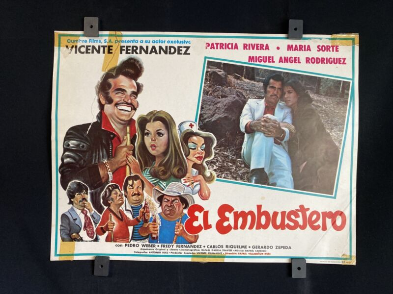 "1985~EL EMBUSTERO~ Vicente Fernandez~ Patricia Rivera~Orig. MX Lobby Card 16""x12"