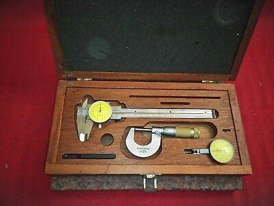 Brown Sharpe Calipers Micrometer Dial Test Metric Set